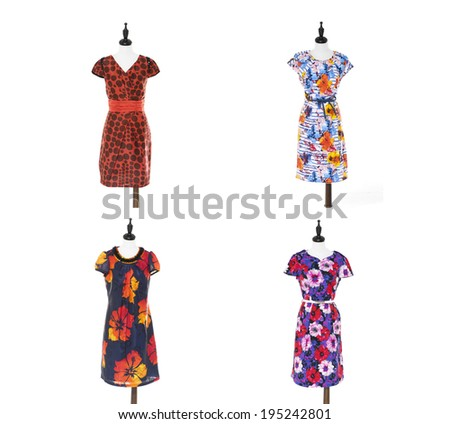 Set of Women colorful evening dress on four dummy - - stock photo