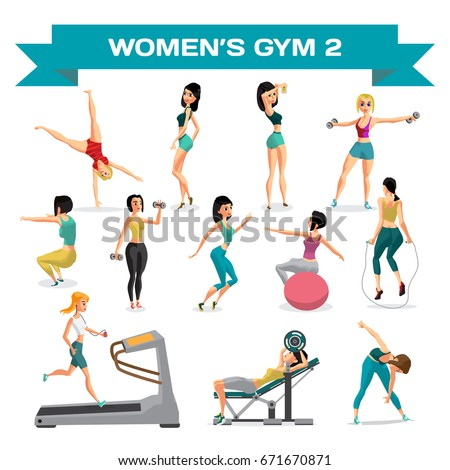Set of women engaged in exercise in the gym. Part 2. Flat cartoon illustration isolated on a white background