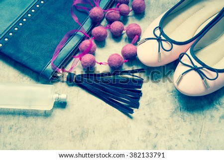 Set of women's clothing and accessories/toned photo - stock photo