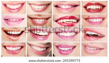 Set of Women's Lips. Toothy Smiles. Lipsticks - stock photo