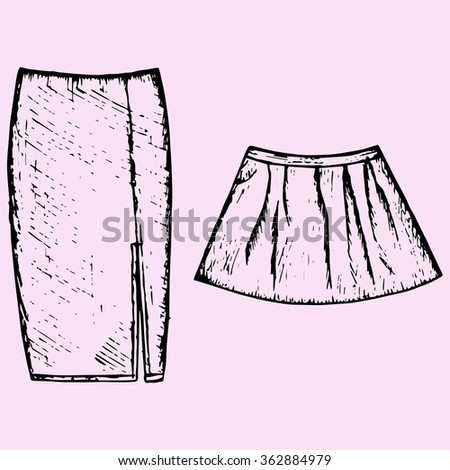 set of women's skirt, doodle style, sketch illustration, hand drawn, raster - stock photo