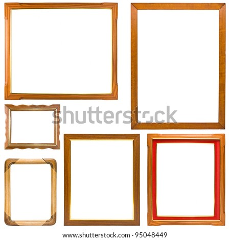 Set of wood frame isolate on white - stock photo