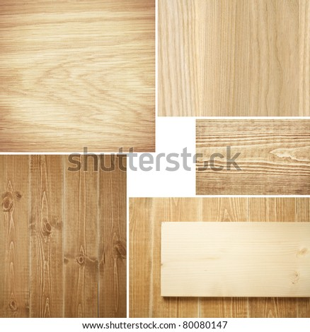 Set of wood textures, backgrounds - stock photo
