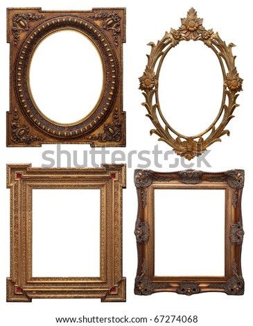 set of wooden classic vintage picture frame, isolated with clipping path - stock photo