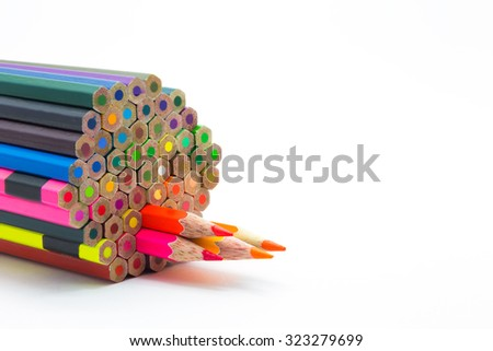 Set of wooden colours pencil on white background - stock photo
