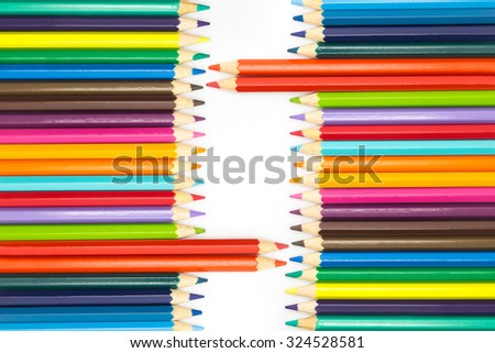 Set of Wooden colours pencils on white background, multiple colours  - stock photo