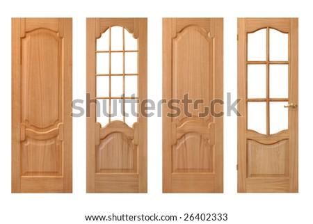 set of wooden doors isolated on white - stock photo
