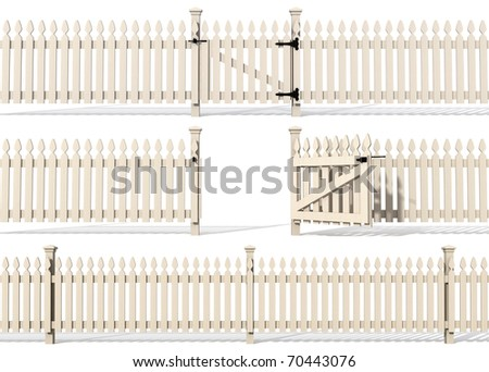 set of wooden fence isolated on white - rendering - stock photo