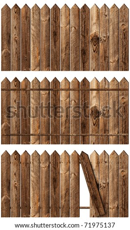 set of wooden fences over the white backgroynd - stock photo