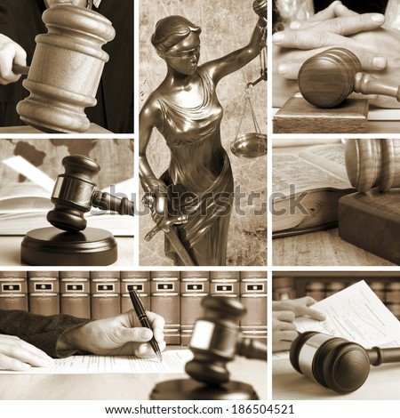 Set of wooden gavel and law 2 sepia - stock photo