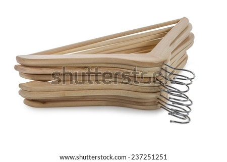 Set of wooden Hangers isolated on white background - stock photo
