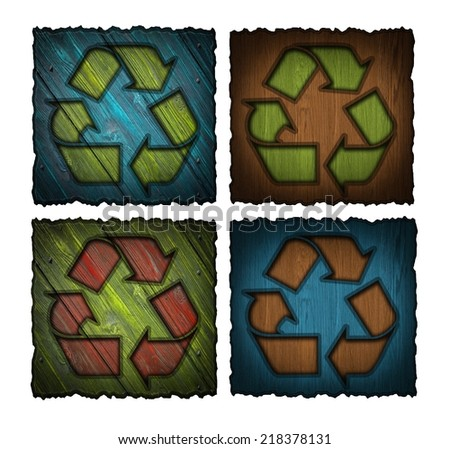 set of wooden labels with recycling symbol isolated on white background - stock photo