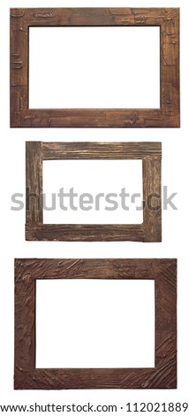 Set of wooden natural frame, isolated with clipping path - stock photo