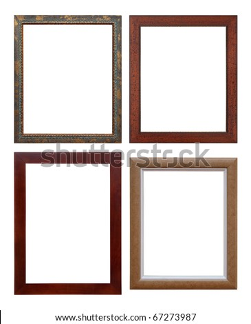 set of wooden picture frame, isolated with clipping path - stock photo