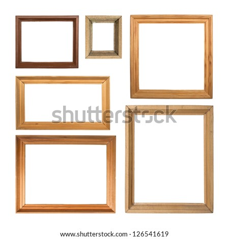 Set of wooden picture frames, isolated on white background - stock photo