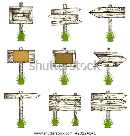 Set of Wooden sign on grass. art illustration. Isolated on white - stock photo