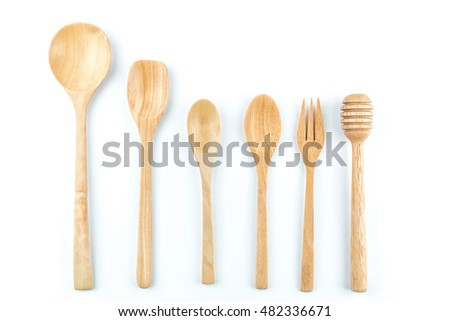 Set of wooden spoon isolated on the white background.