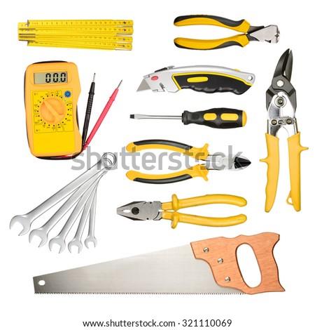 Set of work tools isolated on white background - stock photo