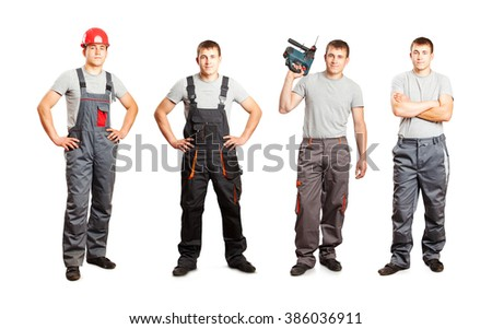 Set of worker mans in overalls isolated on white background - stock photo