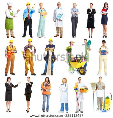 Set of workers people team isolated over white background. - stock photo