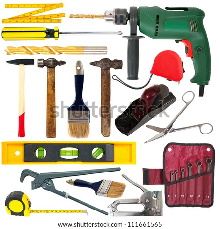 set of working tools. Isolated over white background - stock photo