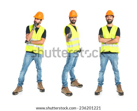 Set of Workman thinking over isolated white background