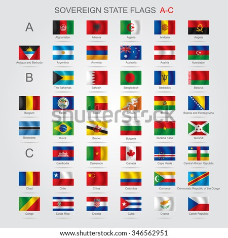 Set of world sovereign state and flags with captions in alphabet order.  Contains the Clipping Path of all flags - stock photo