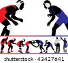 Set of wrestling action silhouette illustrations - stock photo