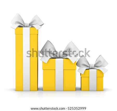 set of yellow gift box isolated for Christmas, New Year's Day 3d rendering