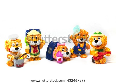 Set of yellow lions, camp characters, isolated on white background. - stock photo