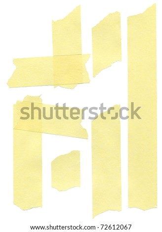 set of yellow paper masking tapes on white background - stock photo