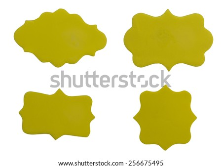 Set of yellow sign made from plasticine on white background - stock photo