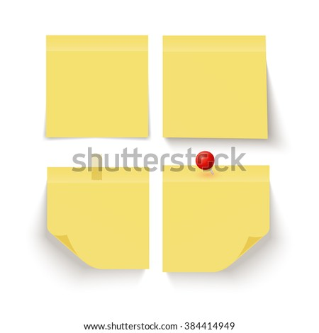 Set of yellow sticky notes on white background. Yellow sticky note. Sticky note isolated on white background. Yellow post it notes. Note paper.