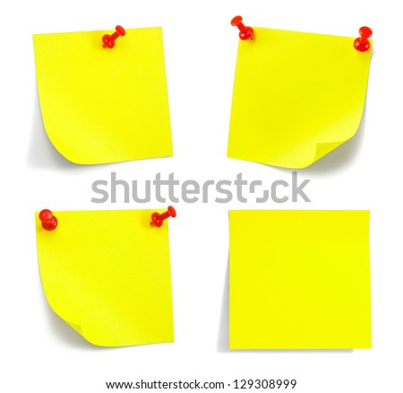 set of yellow sticky notes with shade on white