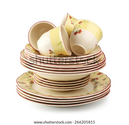 Set of yellow tableware isolated - stock photo