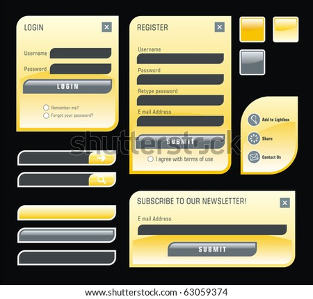 Set of yellow web forms - stock photo
