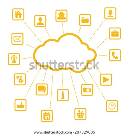 set of yellow web, multimedia and business icons on a white background - internet of things - stock photo