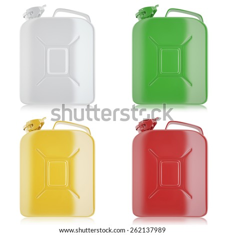 Set of yellow, white, green, red jerricans for fuel. 3d illustration high resolution - stock photo
