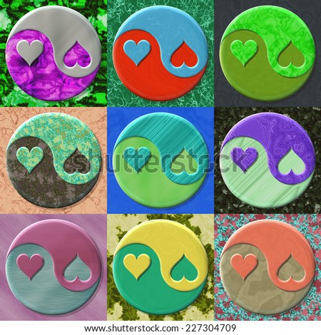 Set of yin yang symbols with hearts - stock photo