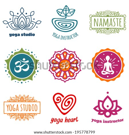 Set of yoga and meditation graphics and symbols - stock photo