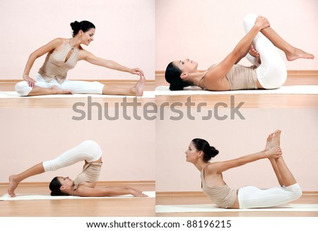 Set of young attractive female fitness. Caucasian girl doing yoga poses - stock photo