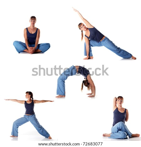 Set of young attractive female fitness.  Caucasian girl doing  yoga poses isolated on white background. - stock photo