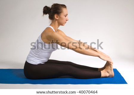 set of young attractive yoga girl doing exercise. 19 of 116 - stock photo