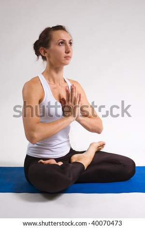 set of young attractive yoga girl doing exercise. 22 of 116 - stock photo