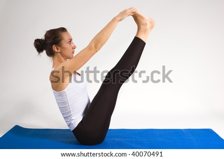set of young attractive yoga girl doing exercise. 28 of 116 - stock photo