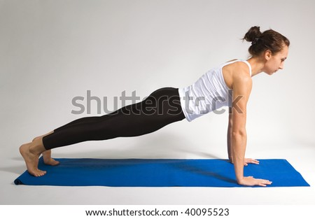 set of young attractive yoga girl doing exercise. 37of 116 - stock photo
