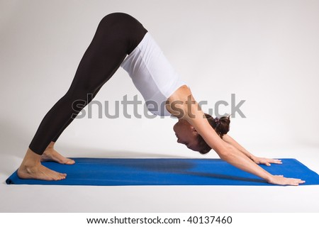 set of young attractive yoga girl doing exercise. 44of 116 - stock photo