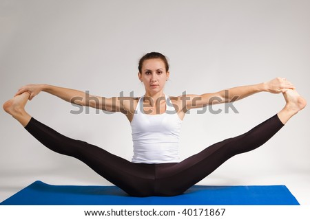 set of young attractive yoga girl doing exercise. 48 of 116