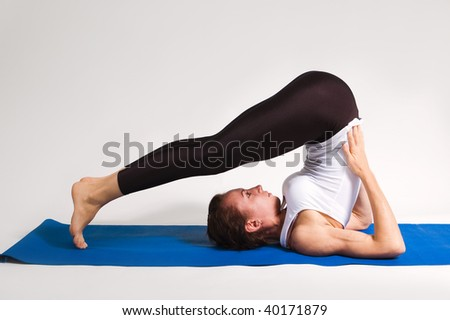 set of young attractive yoga girl doing exercise. 49 of 116 - stock photo