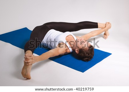 set of young attractive yoga girl doing exericise. 63 of 110 - stock photo